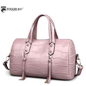 朱尔波士顿真皮女包女士包包手提皮包桶包手拎包女枕头包