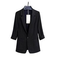 小西装女外套2019夏季韩版修身七分袖薄款棉职业西服外套女潮