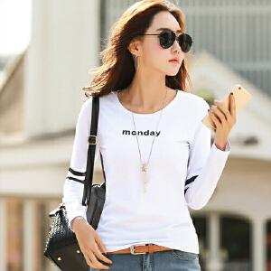 2017春秋新款女装上衣t恤纯棉体恤打底衫韩版修身白色长袖t恤女WK5200