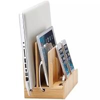 创意实木竹木手机平板电脑充电支架 ipad底座macb笔记电线收纳盒 竹原色