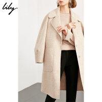 【25折到手价:429.75元】 Lily春秋新款女装商务通勤格纹宽松微茧型羊毛中长款呢大衣