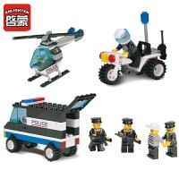 启蒙玩具小颗粒拼插积木6-10岁儿童益智玩具警察系列警察总署110