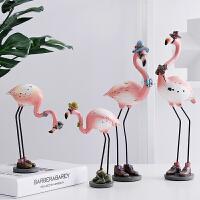 火烈鸟摆件设创意英伦房间装饰品客厅办公室酒柜软装