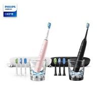 飞利浦(PHILIPS) 电动牙刷 蓝牙版 成人声波震动钻石系列(自带刷头*4+充电旅行盒+充电玻璃杯) HX9924