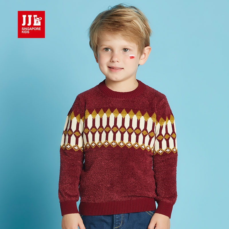 jjlkids季季乐春秋新款休闲男童圆领毛衣套头针织衫外套BQM63191专柜同款
