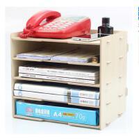 木质桌面收纳盒 A4A5文件整理置物架 多功能多层办公资料架子包邮1