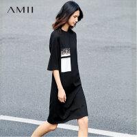 Amii[极简主义]春新品时尚宽松五分袖显瘦个性拼贴画卫衣裙11760640