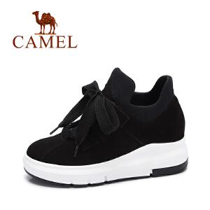 camel/骆驼女鞋 2017秋季新款 拼色松糕底休闲鞋女 显高百搭系带圆头鞋