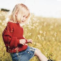 【尾品汇清仓】迷你巴拉巴拉女童套头毛衣2018秋新款童装女宝婴儿棉质线衫针织衫