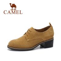 camel/骆驼女鞋 2017秋季新款 英伦风百搭粗跟单鞋女复古系带反绒皮鞋