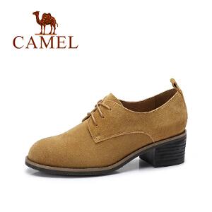 camel/骆驼女鞋  秋季新款 英伦风百搭粗跟单鞋女复古系带反绒皮鞋