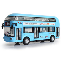 天鹰合金双层旅游巴士空调大巴城市公交车模型儿童回力声光玩具车