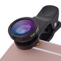 【礼品卡】手机镜头广角微距鱼眼三合一套装通用单反高清拍照oppo照相摄像头 黑色