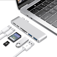 �O果�P�本MacBook Pro�U展�]USB-C�D�Q器HUB�DUSB�x卡器PD �y色【2��USB+�x卡器+2��USB-C