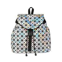 2018新款女包几何菱格魔方包镭射折叠学生背包PVC旅行双肩包批发 镭射