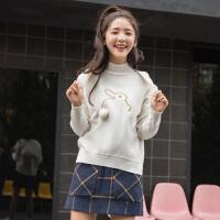 [全场300-30,仅限1.22,新品价129]唐狮春秋白色可爱毛衣新款女装半高领宽松针织衫套头打底线衫