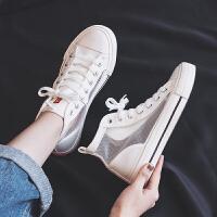 新款高帮帆布鞋女2019夏季学生百搭女鞋网面潮鞋小白鞋透气网鞋