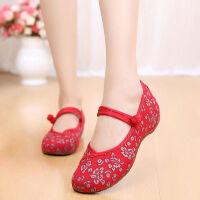 老北京布鞋女广场舞鞋坡跟民族风绣花鞋舞蹈布鞋内增高妈妈女单鞋