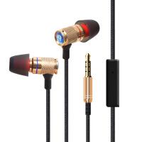 新款金属时尚线控耳机带麦重低音立体声耳机