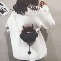 漆皮链条小圆包搞怪少女小包包女单肩斜挎包