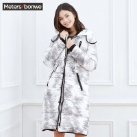 美特斯邦威羽绒服女士长款冬装韩版学生街头风保暖外套长过膝潮