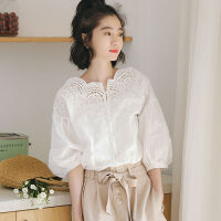 白色衬衫女夏短袖一字肩学生韩版宽松露肩上衣衬衣女设计感小众V 白色 M 建议90-105斤