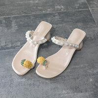 拖鞋女外穿时尚百搭网红2019新款夏粗跟菠萝珍珠ins沙滩鞋凉拖潮 米白 色
