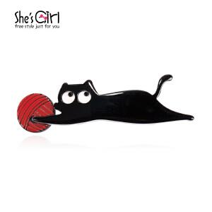 She'sGirl茜子 搞怪小猫咪动物胸针个性别针 首饰流行饰品GBB9419466礼物
