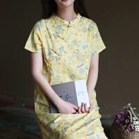 原创夏装文艺中式改良旗袍宽松大码碎花短袖连衣裙长裙女棉GH073 黄色碎花