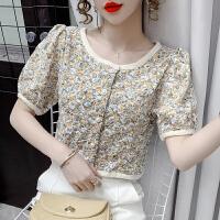 俏依惠新款温柔风甜美碎花衬衫女设计感小众宽松短款泡泡袖上衣