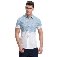 才子男装(TRIES)短袖衬衫 男士2017年春夏新款棉质创意几何拼色休闲短袖衬衫