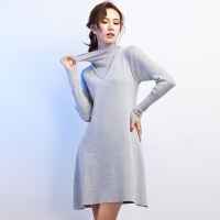 半高领针织连衣裙打底裙秋冬高腰中长款假两件修身长袖a字羊毛裙