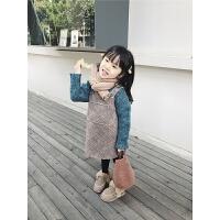 女童连衣裙秋冬装短羊羔磨毛绒儿童背带裙宝宝洋气裙子