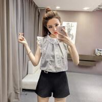 2018夏装韩范娃娃领镂空蕾丝打底衫拼接雪纺衬衫女短袖上衣潮