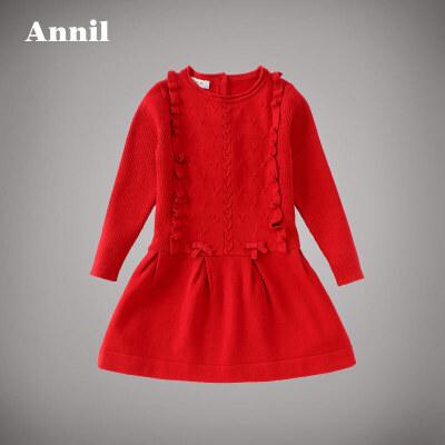 安奈儿童装女大童针织A字裙秋冬款女童圆领棉线衫连衣裙AG634637安奈儿童装,不一样的舒适