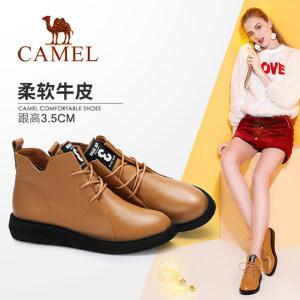 camel/骆驼女鞋 秋冬季新款短靴 时尚英伦系带靴子百搭短筒女靴