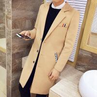 外套男士秋冬季韩版百搭修身呢大衣男风衣工装男外衣学生加绒加厚
