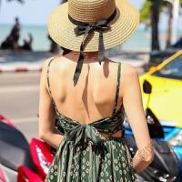 2018夏季新长裙波西米亚度假沙滩裙吊带露背蝴蝶结连衣裙 绿色