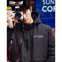 【2件2折价259.8元】森马旗下潮牌GLEMALL 中长款男个性印花刺绣连帽防风外套