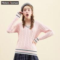 美特斯邦威针织衫女春秋季新款学院风韩版V领显瘦毛衣线衫学生