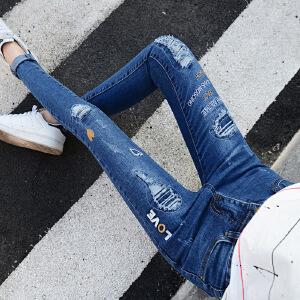 Modern idea2017新款韩版破洞牛仔裤女刺绣修身贴布大码中腰九分牛仔裤潮