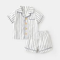 儿童睡衣套装女3岁男童短袖上衣裤子童装婴儿宝宝纯棉家居服夏装 白色 预售5月13号发