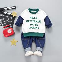 儿童男童套装春季女童运动纯棉衣服宝宝休闲长袖两件套婴儿韩版潮 80 建议身高63-73cm
