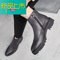 新品上市冬季男靴子英伦高帮皮鞋韩版真皮靴潮流青年增高型师男鞋 黑色9680 皮里常规款