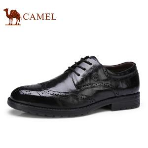 骆驼牌 男鞋 新品复古时尚布洛克雕花商务正装低帮男鞋