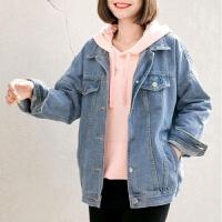 牛仔外套女春季2019韩版学生宽松bf薄款上衣秋装港味短款夹克 蓝色