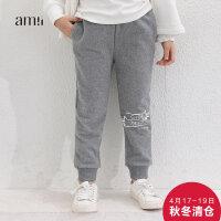 amii童装冬新款女童加绒休闲裤中大童加厚长裤儿童保暖棉裤