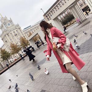 20171128164943774过膝毛呢外套女中长款秋冬装2017新款韩国宽松呢子大衣ulzzang潮