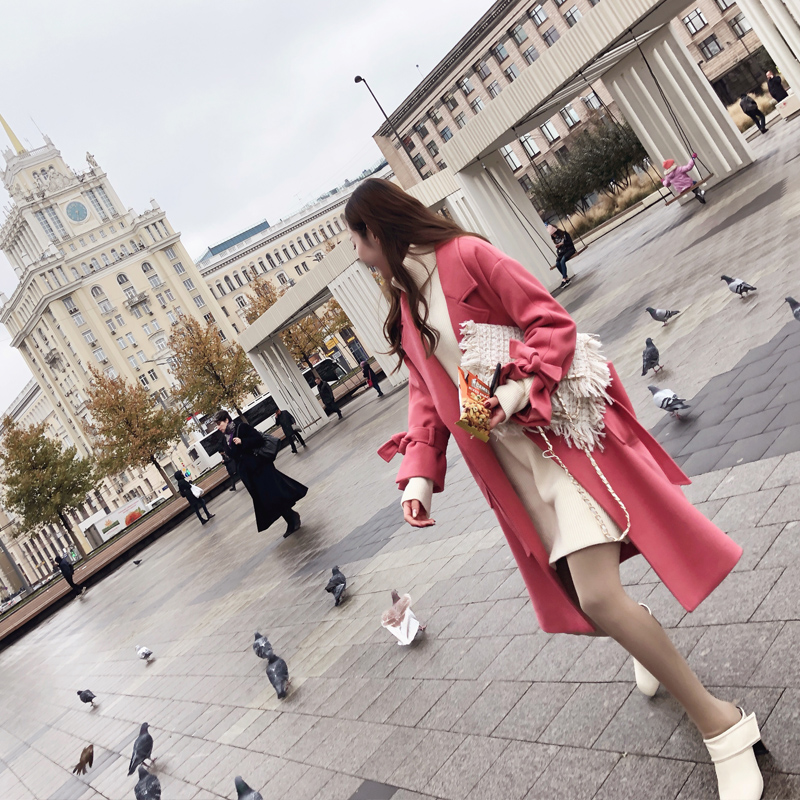 20171128164943774过膝毛呢外套女中长款秋冬装2017新款韩国宽松呢子大衣ulzzang潮宽松毛呢外套