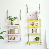 墙壁置物架创意简约悬挂麻绳一字隔板客厅卧室现代墙上装饰壁挂